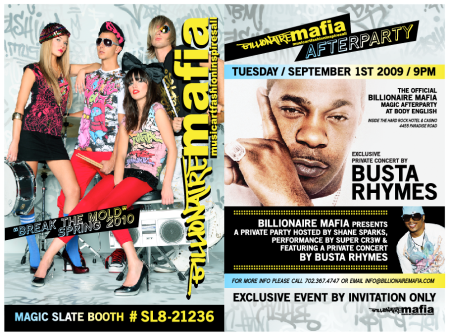 Billionaire Mafia - August 2009 MAGIC Busta Rhymes Concert Invite